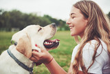 Fototapeta Animals - Frame with a beautiful girl with a beautiful dog in a park on green grass.