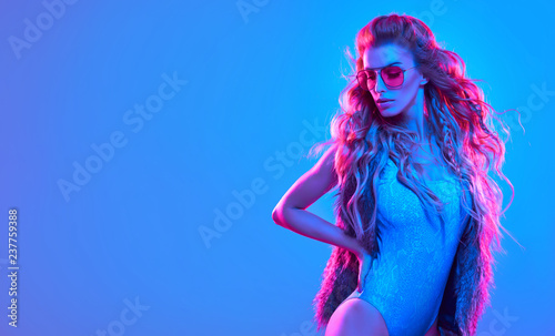 High Fashion neon light. Sexy Girl, Hairstyle Tablou Canvas