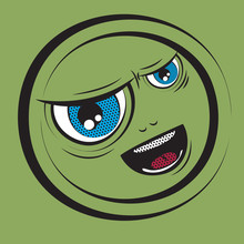 Cartoon Green Face With Emotions Scream