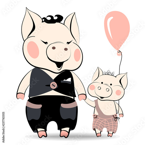 Stampa su Tela Cartoon family of pigs, symbols of the New Year of 2019, according to the Chinese horoscope, daddy pig and son piglet are happy to go near holding their hand