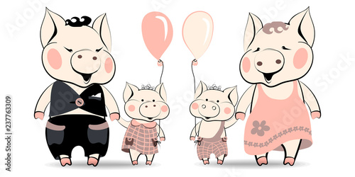 Photo Cartoon family of pigs, symbols of the New Year of 2019, according to the Chinese horoscope, daddy pig and son piglet are happy to go near holding their hand