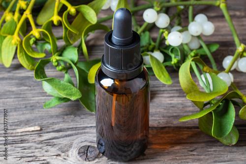 Fotografie, Obraz  A bottle of mistletoe tincture with fresh mistletoe