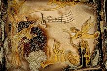 Nativity Scene And Bird Singing Peace Night Xmas Card