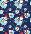 vector Christmas seamless pattern with snowman and gifts on dark background