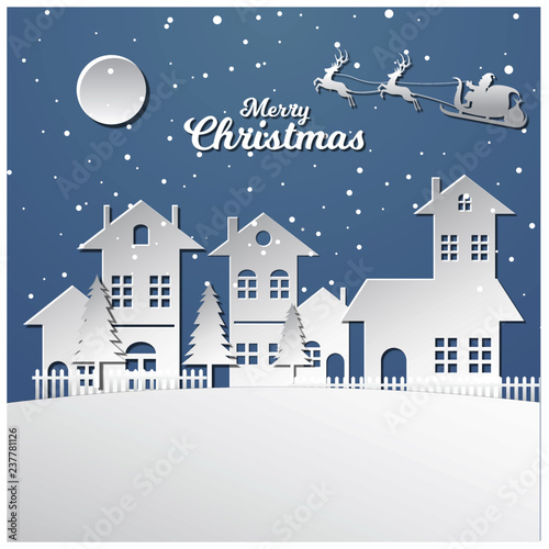 Foto op Canvas Lichtblauw Merry Christmas background in paper style