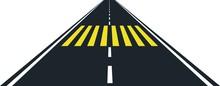 Road And Yellow Zebra Crossing