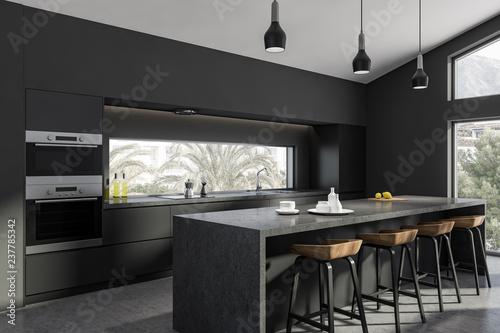 Fototapeta Gray kitchen corner, bar and countertops obraz