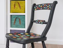 Hand Painted Chair, Painted With Annie Sloan Chalk Paint, Colourful Baskets Behind.