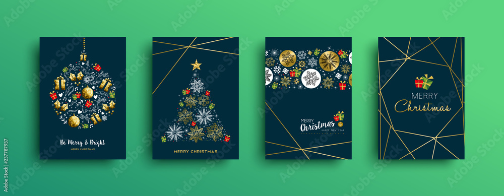 Fototapeta Merry Christmas gold decoration card collection