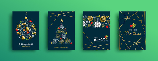 Merry Christmas gold decoration card collection