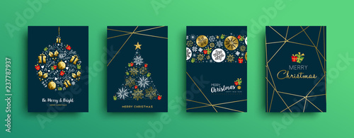 Fototapeta Merry Christmas gold decoration card collection obraz