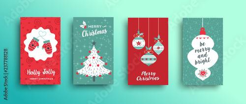 Fotografie, Obraz  Christmas retro style cute greeting card set