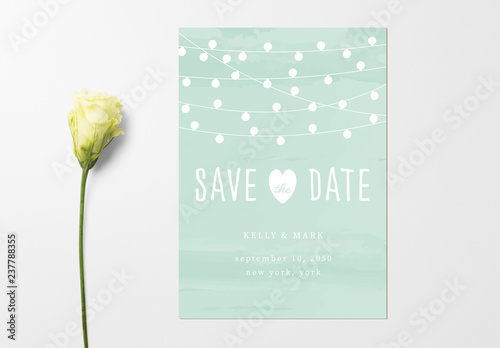wedding invitation layout with string light illustrations save the