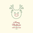 Christmas wishes with hand drawn reindeer. Vector.