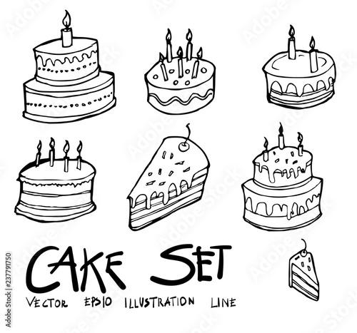 Incredible Set Of Birthday Cake Icon Drawing Illustration Hand Drawn Doodle Personalised Birthday Cards Vishlily Jamesorg