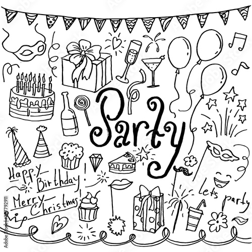 Photo  Set of hand drawn doodle party icons