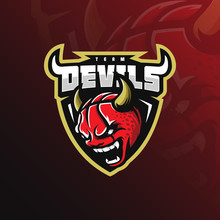 Basketball Mascot Logo Devil D...