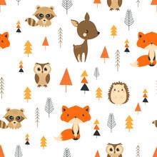 Seamless Pattern Cute Cartoon Forest