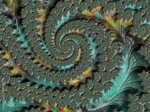 Photo Stands Textures Abstract textured spiral fractal in green and yellow colors, 3d render for design and entertainment. Background for website and flyer design.