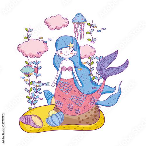 Wall Murals Mermaid cute mermaid under sea with seaweed
