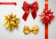 Set Of Red And Golden Satin 3d Bows Isolated On Transparent Background.