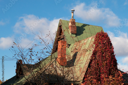 Fotografie, Obraz  Goblin house with chimneys and bright red leaves of wild grape on an autumn sunn
