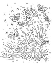 Coloring Book Page For Adult And Kids. Cute Doodle Composition With Abstract Flowers, Leaves And Butterflies.