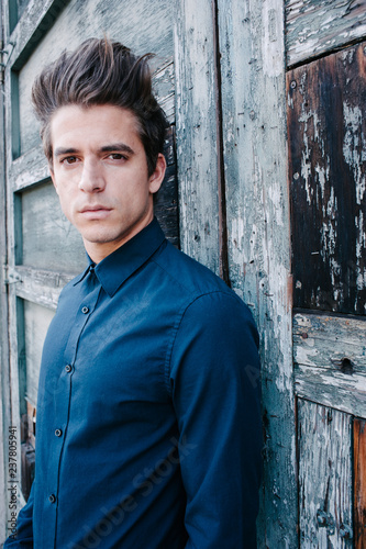 Fotografie, Obraz  Handsome young model in a rustic setting