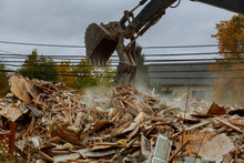 House Destroyed Bricks, Sticks Trees, Debris Beam Natural Disaster