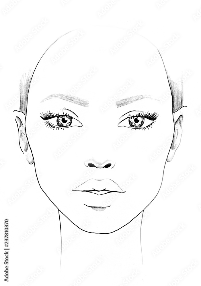 Fototapeta Face chart Makeup Artist Blank. Beautiful woman portrait. Face chart. Makeup Artist Blank. Template.