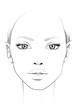 Face chart Makeup Artist Blank. Beautiful woman portrait. Face chart. Makeup Artist Blank. Template.