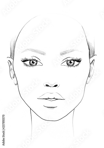 Obraz Face chart Makeup Artist Blank. Beautiful woman portrait. Face chart. Makeup Artist Blank. Template. - fototapety do salonu