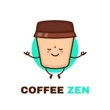 Meditation Cute Happy Smiling Coffee