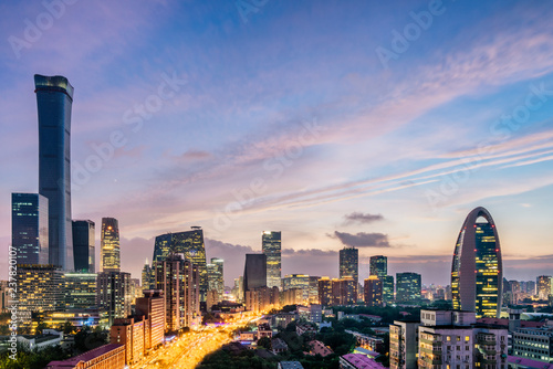 Fotobehang Peking Urban night view Landscape of CBD Central Business District, Beijing, China