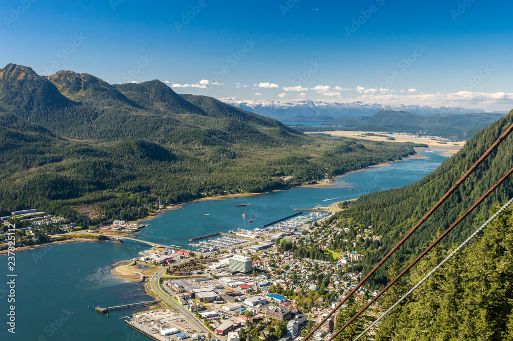 Fototapety, obrazy: City of Juneau and cruise ship port from Mount Roberts tram. Juneau, Alaska, USA