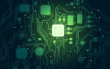 Abstract Electronic Board And Cpu Background In Dark-green Tone