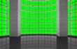 Leinwanddruck Bild - Greenscreen conceptual, modern industrial architectural windows grid, for background use