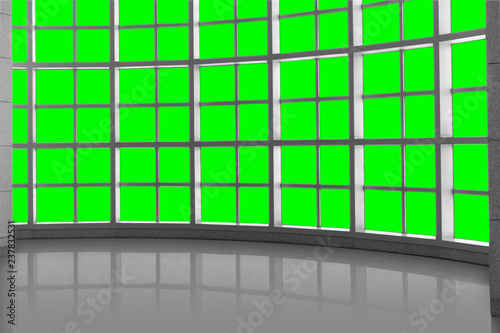 Fototapeta Design cover concept, modern open space structure window grid with reflective surface obraz