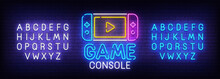 Game Console Neon Sign, Bright Signboard, Light Banner. Game Logo. Neon Sign Creator. Neon Text Edit. Design Template. Vector Illustration