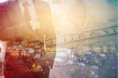 81415447b36 double exposure of businessman and bank note