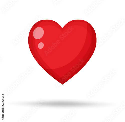 Red Heart Vector Illustration. Canvas Print
