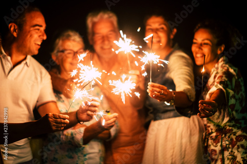 Photo group of people have fun celebrating together new year eve or birthday with spar