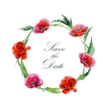 Greeting Card. Hand Drawn Watercolor Illustration. Wreath Of Red Poppy Flowers.  Label With Text In Round Frame. Design Element For Invitations, Weddings, Holidays.