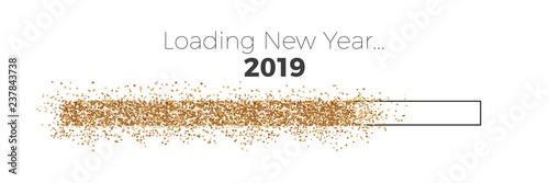 Fotografie, Obraz  Progress Countdown gold bar Loading New Year 2019
