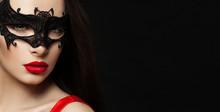 Beautiful Womanwith Red Lips M...