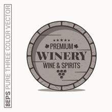 Wine Barrel Logo. Winery Wine And Spirits Label On White Background