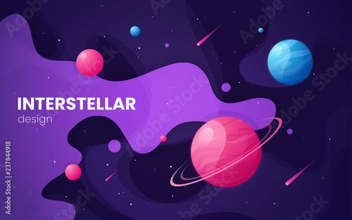 Obraz Cartoon galaxy futuristic outer space background, design, artwor - fototapety do salonu