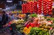 The Mercat de Sant Josep de la Boqueria, a large public market in the Ciutat Vella district in Barcelona, Spain.
