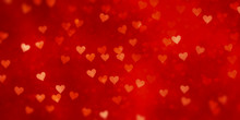 Valentine's Day Hearts Red Background Banner
