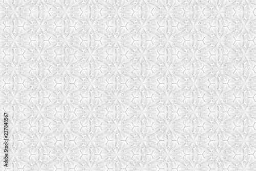 Fotografie, Obraz  Seamless light texture of three-dimensional elegant flower petals based on hexag